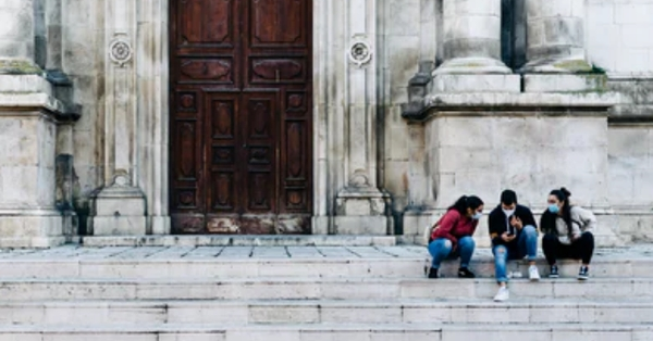Youth on cathedral steps