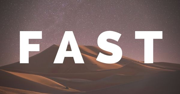 The FAST acronym with desert and stars in the background