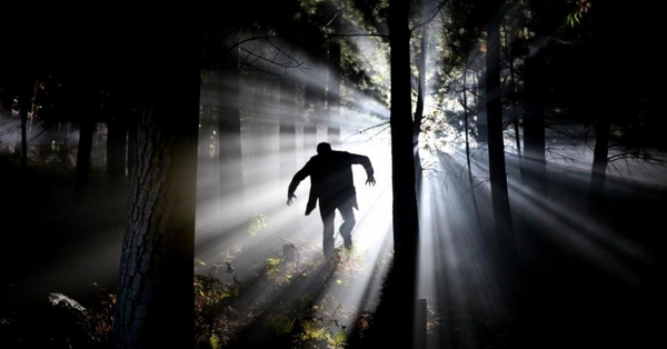 Man running in the woods at night...