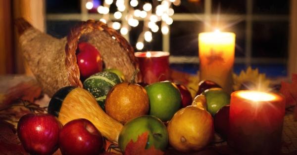 Thanksgiving candles and cornucopia
